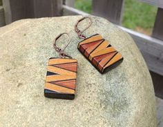Tribal Earrings Rectangular Rose and Gold Chevron Geometric Exotic Wood Bead Dangles by WoodenItBeadLovely