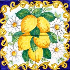 Lemons and Daisys is a Hand Painted panel of ceramic tiles 40x40 cm, approx. 16x16 inches.  The collage consists of 4 tiles at 20x20cm, 8x8 inches.  The beautiful Baroque Lemons of Sorrento Italy has been hand painted into one collage on ceramic tiles that will make your home more unique. Our Ceramic Glazed Tiles are traditionally used to cover walls where they are used in finishing kitchens, bathrooms, benches, decorative panels, floor applications, pools, fountains, fireplaces, table top…