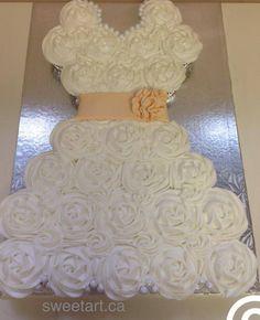 New Pink Bridal Shower Dress Cupcake Cakes Ideas Cupcake Dress Cake, Wedding Dress Cupcakes, Wedding Shower Cakes, Bridal Shower Cupcakes, Cupcake Cakes, Cupcake Wedding, Wedding Cookies, Cupcake Ideas, Wedding Cake Prices