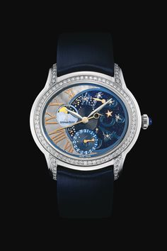 Audemars Piguet STARLIT SKY - LADIES MILLENARY COLLECTION - Millenary Selfwinding (77315): Selfwinding watch with centre seconds, power reserve, moon phases and date displays. 18-carat white gold case, «Night» theme dial, Blue strap. 112 brilliant-cut diamonds, ~1.05 carats.