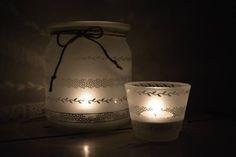 Pískované sklo - svícny