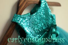 Teal Sequins Flower Girl Dress/Rustic Flower by CarlyCustomDress, $64.99
