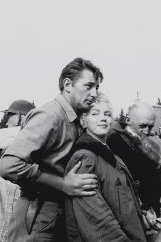 """ourmarilynmonroe: """" Marilyn Monroe with Robert Mitchum on the set of River of No Return, 1953. """""""