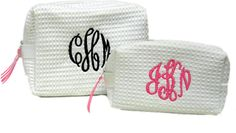 Monogrammed Waffle Makeup Case - White - Small ($13.50)