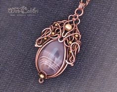 Agate stone pendant necklace wire wrapped jewelry by Wirecolibri