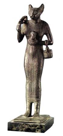 The goddess Bastet,Goddess of cats, protection, joy, dance, music, and love.Bastet was one of the daughters of the sun god, Ra. A great temple was built in her honour at Bubastis in the Delta. The original statue was shown in British museum made of bronze with 27cm high, bastet in this statue shaking a sistrum and holding an aegis, with kittens at her feet.For more stories please visit us at:www.windandwave-eg.com and contact us at:info@windandwave-eg.com