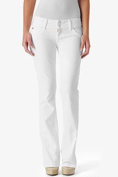 "The universally flattering Signature Bootcut Petite silhouette is fitted from waist to knee then breaks into a bootcut for a balanced, feminine profile. With an inseam of 31"" it is 3 inches shorter than our regular bootcut, creating the perfect fit for those who are more petite in height. In crisp, classic White, this is a wardrobe must-have."