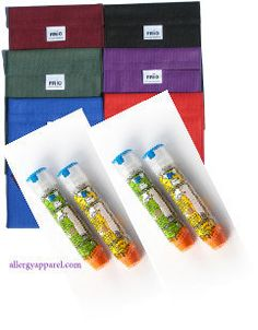 Allergy Apparel - Epi Insulated Wallet, $31.95 (http://www.allergyapparel.com/epi-insulated-wallet/) Proven! and no ice packs or refrigeration is required!