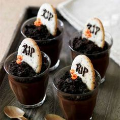 Dark Chocolate Graveyard Pots de Creme with Tombstone Cookies…