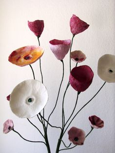 A collection of eco wedding and home decor includes these Handmade Paper Flowers by Alessandre Fabre Repetto Paper Mache Flowers, Paper Mache Crafts, Cardboard Crafts, Paper Flower Centerpieces, Paper Decorations, Handmade Flowers, Diy Flowers, Paper Artist, Paper Design