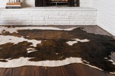 White And Brown Cowhide Rug