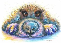 Dog spaniel painting by Sophie Appleton £13.95 on the 'Art 4 SALE' page of www.sixfootsophie.co.uk