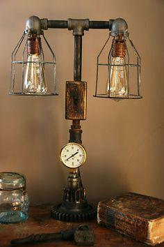 Steampunk Brass Steam Gauge Gear Lamp Light Industrial Art Machine Age | eBay