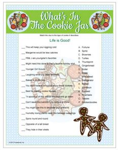 Cookie Jar Cookie Swap game - match clues to a type of cookie. Printable Christmas game.