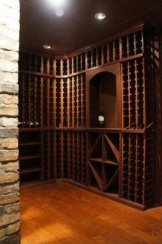 A custom mahogany cellar from WineRacks.com with a red mahogany finish and clear coat