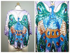 PEACOCK Sequined Batwing Top // Bird Embellished by braxae on Etsy