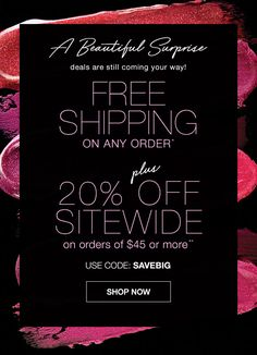 Cyber Week continues -- FREE SHIPPING on any order PLUS 20% off sitewide on orders of $45 or more! Use coupon code SAVEBIG at http://pamwagner.avonrepresentative.com -- offer expires midnight 11/29/16