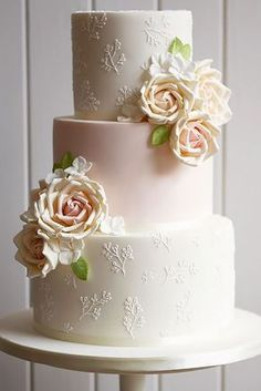 Pink Wedding Cakes These simple romantic wedding cakes are very stylish and has amazing floral deco. - These simple romantic wedding cakes are very stylish and has amazing floral decoration. Blush Wedding Cakes, Floral Wedding Cakes, Elegant Wedding Cakes, Elegant Cakes, Wedding Cake Designs, Trendy Wedding, Floral Cake, Wedding Cupcakes, Purple Wedding