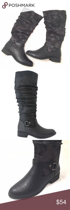 Pierre Dumas Black Casual Riding Style Boot Classy and casual riding boot by Pierre Dumas. Its a smooth faux leather boot with a 1.25 in stacked heel. Boot shaft is made of a faux suede with a two tone black look. Very roomy. Double zipper- one zipper is for closure and the other when left opened allows the calf are to be wider. Calf Width laying flat is 7.5in. Medium width and true to size. Pierre Dumas Shoes Heeled Boots