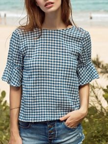 Ruffle Sleeve Low Back Gingham Top Casual Dress Outfits, Trendy Dresses, Nice Dresses, Dresses With Sleeves, Work Outfits, Ruffle Sleeve, Shirt Blouses, Blouse Designs, New Dress