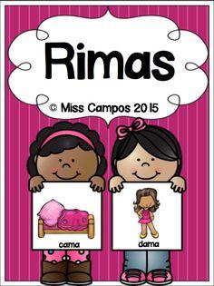 Rimas Spanish Rhyming by Miss Campos Bilingual Centers, Bilingual Kindergarten, Bilingual Classroom, Bilingual Education, Spanish Classroom, Classroom Ideas, Preschool Spanish, Spanish Teaching Resources, Elementary Spanish