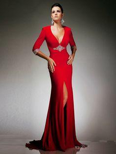 Vestido elegante, rojo, largo, de gala.
