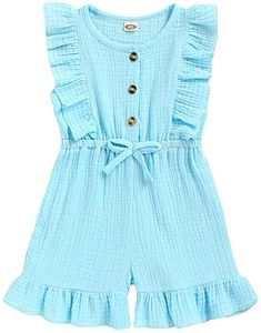 Mioglrie Baby Girl Rompers Sleeveless Cotton Linen Onesie Romper Bodysuit Jumpsuit Summer Clothes Toddler Dress, Toddler Outfits, Kids Outfits, Toddler Girl, Kids Frocks Design, Baby Frocks Designs, Baby Girl Frocks, Baby Girl Romper, Kids Dress Wear