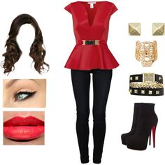 Red Peplum by teodoramaria98 on Polyvore featuring Oneness, even&odd, Christian Louboutin, Vince Camuto, Kenzo and Accessorize