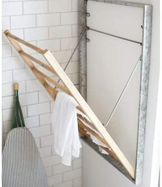 Galvanized Laundry Drying Rack. No space to air-dry your linens or dish towels? This galvanized metal and wood piece is seriously stylish – and its functionality can get as creative as you want. Problem solved. #affiliate #laundryroom #laundryroomideas