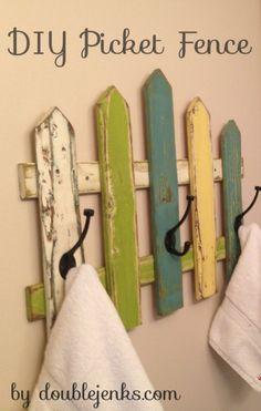 DIY Picket Fence Towel Rack a tutorial by doublejenks.com