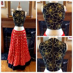 Georgette sequins skirt with embroidered silk crop top.