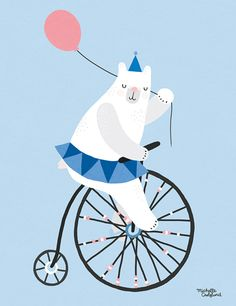 Sunday Cycling Bear Blue in size. Poster and frames in the shop. Circus Illustration, Bicycle Illustration, Cute Animal Illustration, Graphic Illustration, A4 Poster, Blue Poster, Poster Prints, Art Prints, Art D'ours
