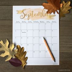 Print our free September 2016 calendar for your monthly planning! Our calendar is 8.5 x 11 and features a gorgeous watercolor header with gold foil script