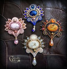 Beautiful bead embroidery brooches with druzy, rhodonite, and agate stone
