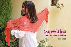 #Crochet: chal media luna con flores mollie alrededor. Paso a paso en español con subtitulos en inglés!