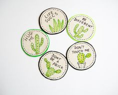 Cactus Patch or Pin- Custom Hand Embroidered Patch - Sew on patches - Iron on patches - Cactus Applique - listing is for one patch only Mais Cute Patches, Pin And Patches, Sew On Patches, Iron On Patches, Cactus Embroidery, Embroidery Patches, Embroidery Thread, Embroidered Patch, Embroidered Clothes