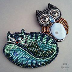 kot i sowa -broszki dla milusińskich | Bead Story