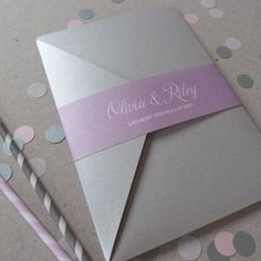 Pocketfold Wedding Invitation Suite - Lila Wedding Range. £4.50, via Etsy. The love paperco