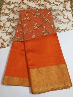 ec0c32a2f49309 Pure raw silk saree with embroidered net blouse 100 percent pure silk saree  length of saree