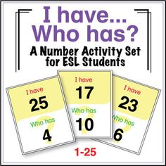 "ESL Games - Numbers - I Have Who Has? This is a freebie! ""I Have, Who Has"" activities are great for large or small groups and are very easy to play. Can be modified for different vocabulary. Spanish Basics, Spanish Lessons, Teaching Spanish, Teaching English, Learn English, Spanish Class, Teaching Numbers, Common Core Reading, Reading Strategies"