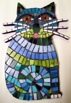 "11.5"" Whiskered Sitting Cat Stained Glass Mosaic Tile Wall Art FREE U.S. SHIPPING. $195.00, via Etsy."