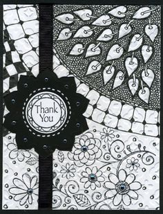 Card with Zentangles and stamped bottom.