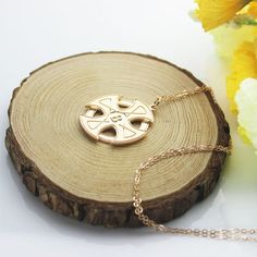 Engraved Celtic Cross Name Necklace Rose Gold