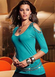 Turquoise cold shoulder top (belt not included)