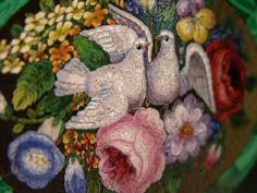Museum Quality Micro Mosaic Of Doves and Flowers, Circa 1830 from barkusfarm on Ruby Lane