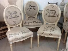 FEED SACK CHAIRS     Placement Of The Images And Text On Each Chair Is  Important For A Great Look.