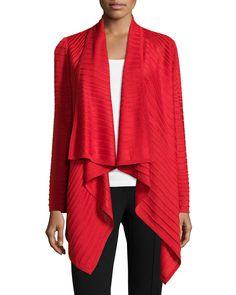 St. John Degrade Textured-Stripe Cardigan, Venetian Red, Women's, Size: L, Vtrd