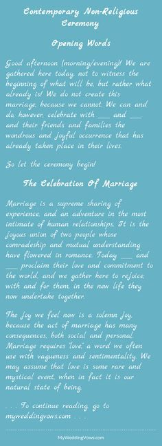 Opening Words Good afternoon (morning/evening)! We are gathered here today, not to witness the beginning of what will be, but rather what already is! We do not create this marriage, because we cannot. We can and do, however, celebrate with ________...
