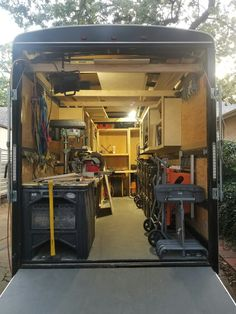 Very cool trailer layout, larger trailer then ours tho Trailer Shelving, Trailer Storage, Work Trailer, Trailer Build, Aluminum Utility Trailer, Landscape Trailers, Cargo Trailer Conversion, Mobile Workshop, Trailer Organization