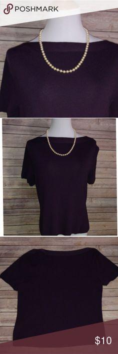 "Dark Purple Boat Neck Brand: Sag Harbor Size: XL (19"" armpit-armpit) Color: Dark Purple Fabric: Rayon/Nylon  Pretty deep purple, boat neck, short sleeve blouse.   Very good, pre-owned condition. Sag Harbor Tops Blouses"